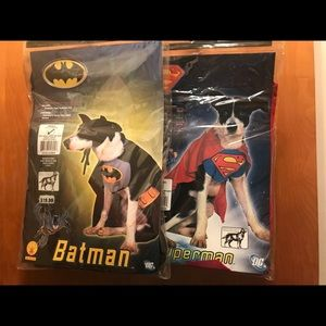 Two NWT small dog/cat costumes. Superman & Batman